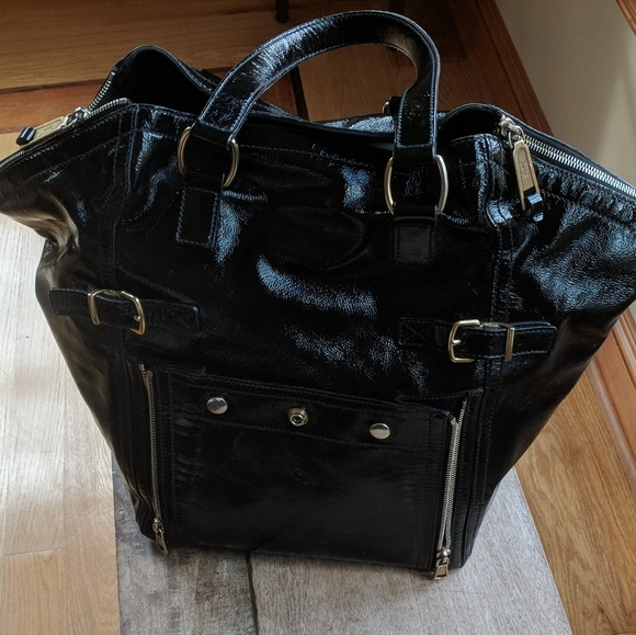 35a0b2febe Yves Saint Laurent Bags | Ysl Downtown Bag Large Black Patent ...
